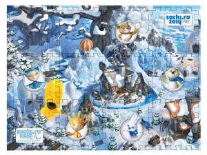 Напольные коврики-пазлы для детей:Коврик-пазл GT7426 Талисманы Сочи 2014, 17 деталей 95*125см ТМ Sochi 2014.ru