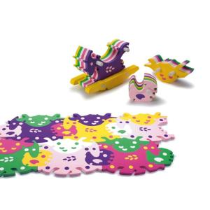 Напольные коврики-пазлы для детей: Развивающий 3d-пазл с игрушками Animal Tessell Big - лошадка-качалка, черепаха, курочка арт.T-001 (Тессел)