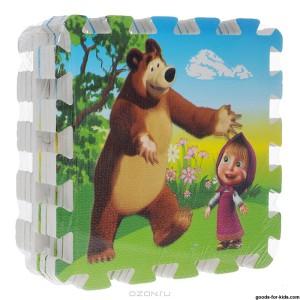 Напольные коврики-пазлы для детей:Коврик-пазл Маша и медведь, 8 сегментов