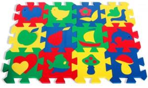 Напольные коврики-пазлы для детей:Коврик-пазл с силуэтами 12 деталей Бомик