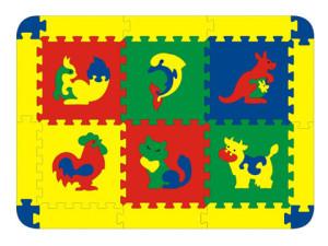 Напольные коврики-пазлы для детей:Конструктор 45427 Коврик с животными 6 дет Флексика